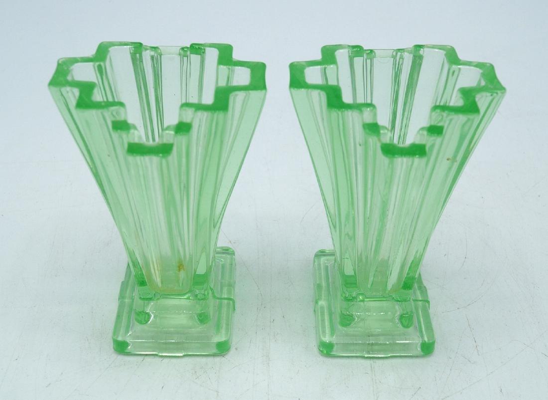 3 PC. ART DECO GLASS CONSOLE SET - 4