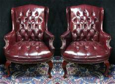 PR. QUEEN ANNE STYLE RED VINYL UPHOLSTERED CLUB