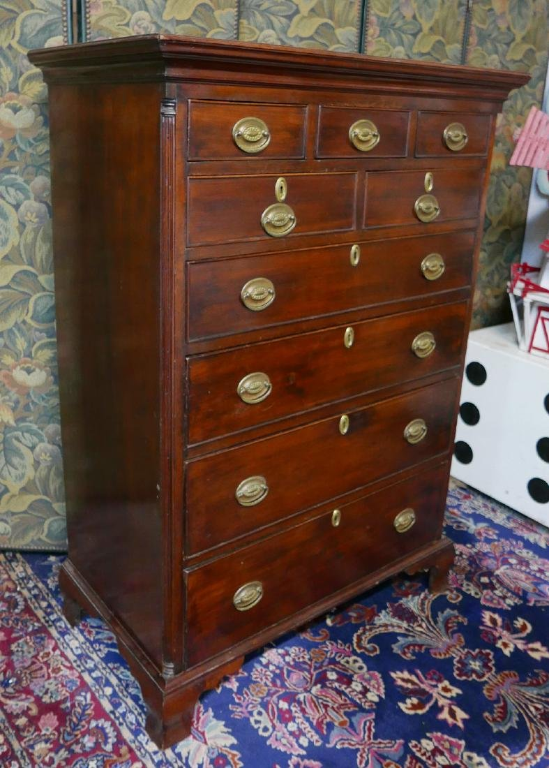 C. 1780 ANTIQUE PA. CHERRY HIGH CHEST OF DRAWERS - 2