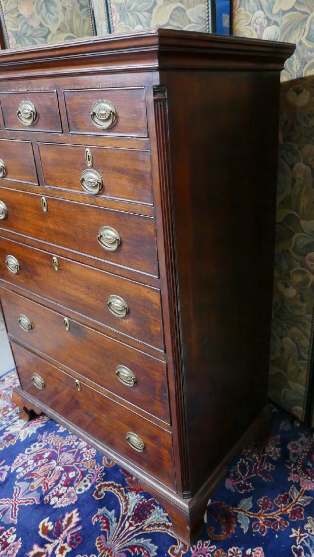 C. 1780 ANTIQUE PA. CHERRY HIGH CHEST OF DRAWERS - 3