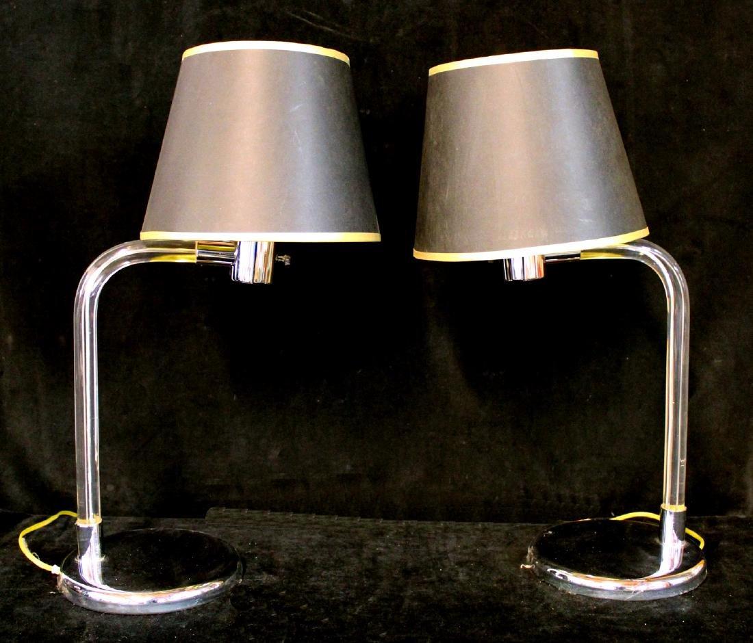 PR. CHROME & LUCITE DESK LAMPS