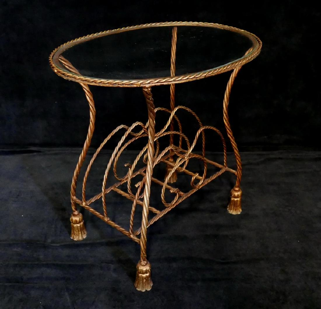 OVAL IRON TASSEL SIDE TABLE - 4