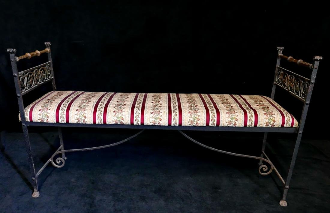 WROUGHT IRON & BRASS UPHOLSTERED BENCH