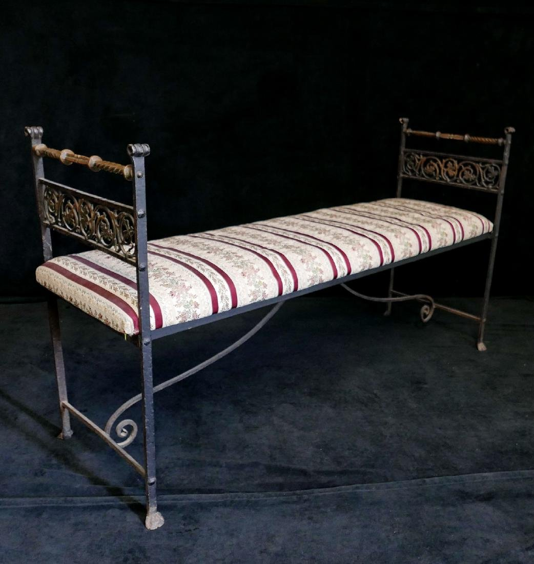 WROUGHT IRON & BRASS UPHOLSTERED BENCH - 2
