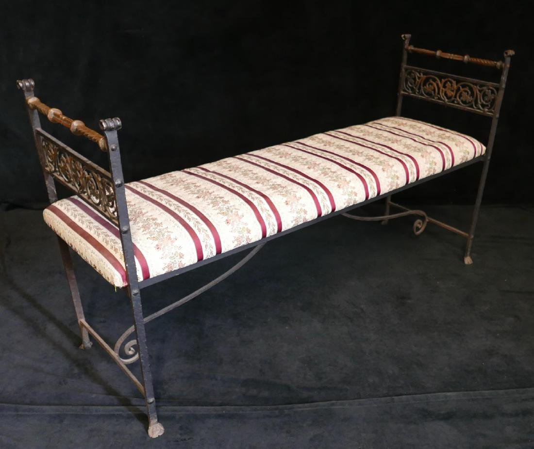 WROUGHT IRON & BRASS UPHOLSTERED BENCH - 3