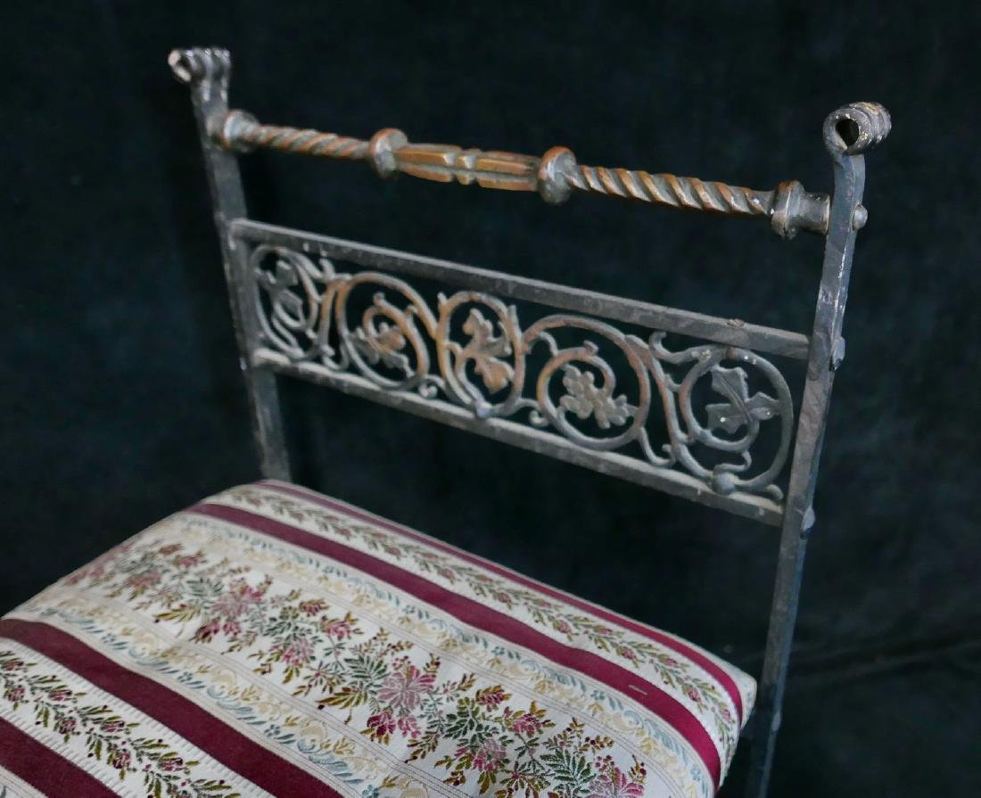 WROUGHT IRON & BRASS UPHOLSTERED BENCH - 4