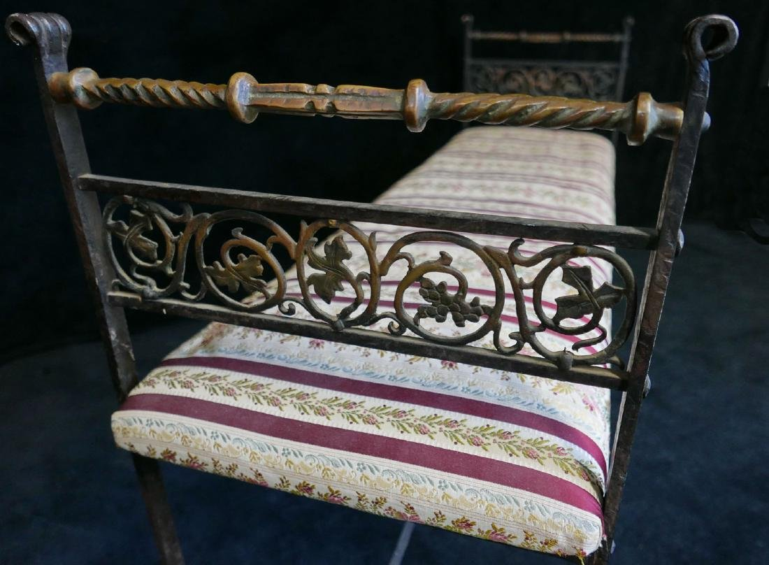 WROUGHT IRON & BRASS UPHOLSTERED BENCH - 6