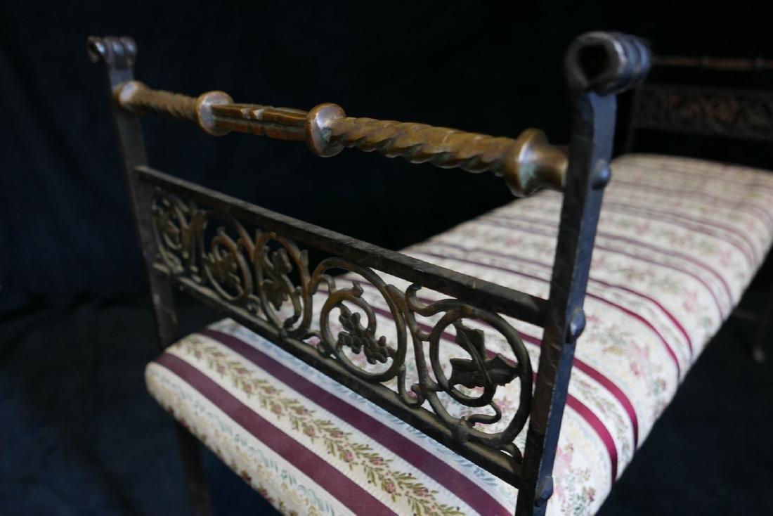 WROUGHT IRON & BRASS UPHOLSTERED BENCH - 7