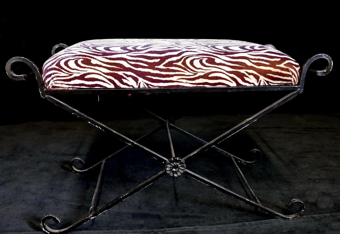 FAUX ZEBRA UPHOLSTERED IRON BENCH