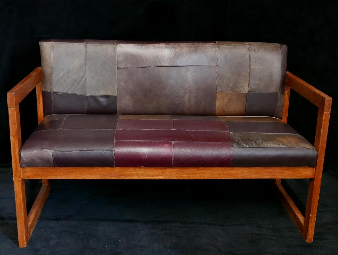 MISSION STYLE LEATHER UPHOLSTERED BENCH