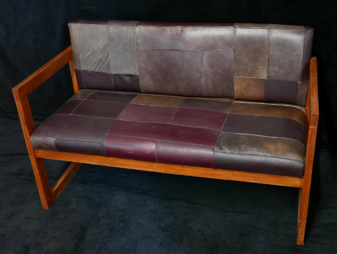 MISSION STYLE LEATHER UPHOLSTERED BENCH - 3