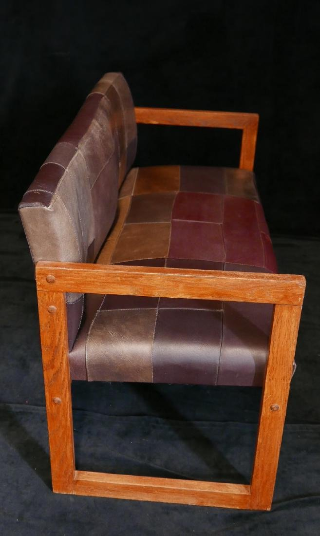 MISSION STYLE LEATHER UPHOLSTERED BENCH - 4