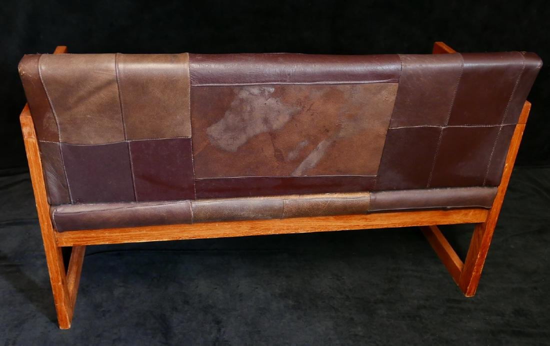 MISSION STYLE LEATHER UPHOLSTERED BENCH - 5