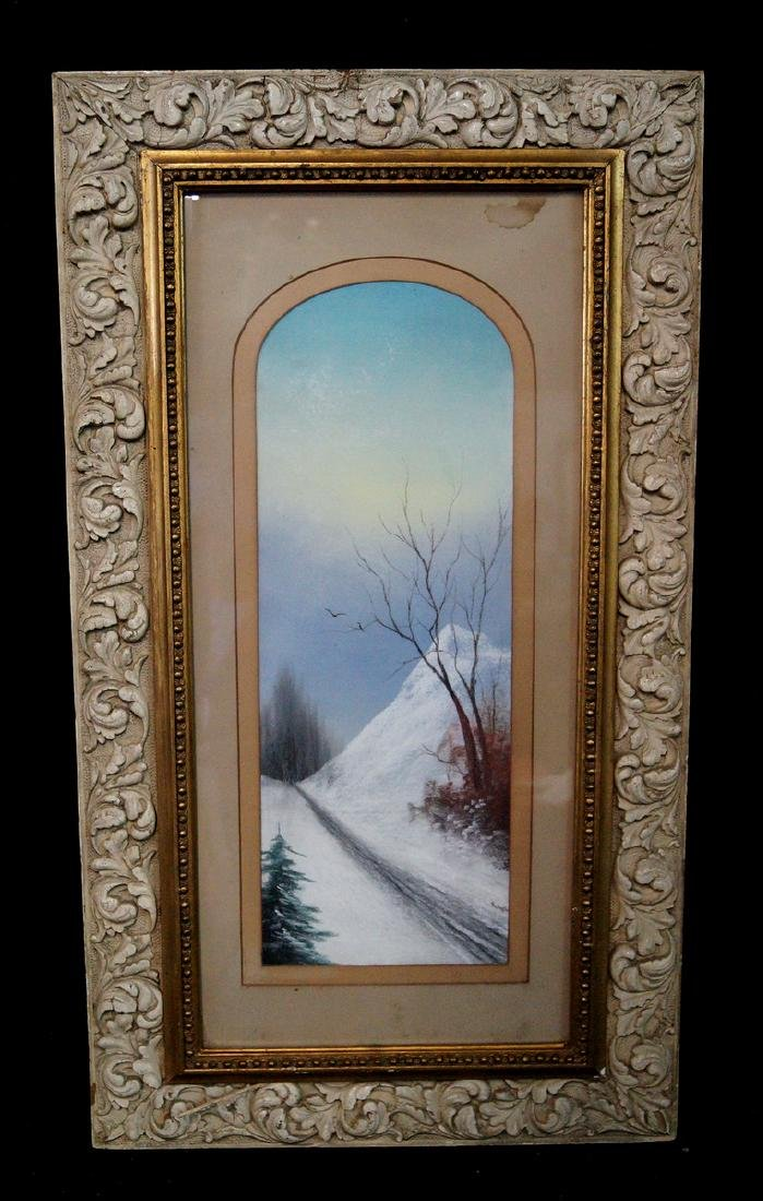 "NICHOLS SGN. FRAMED PASTEL ON PAPER ""WINTER SCENE"""