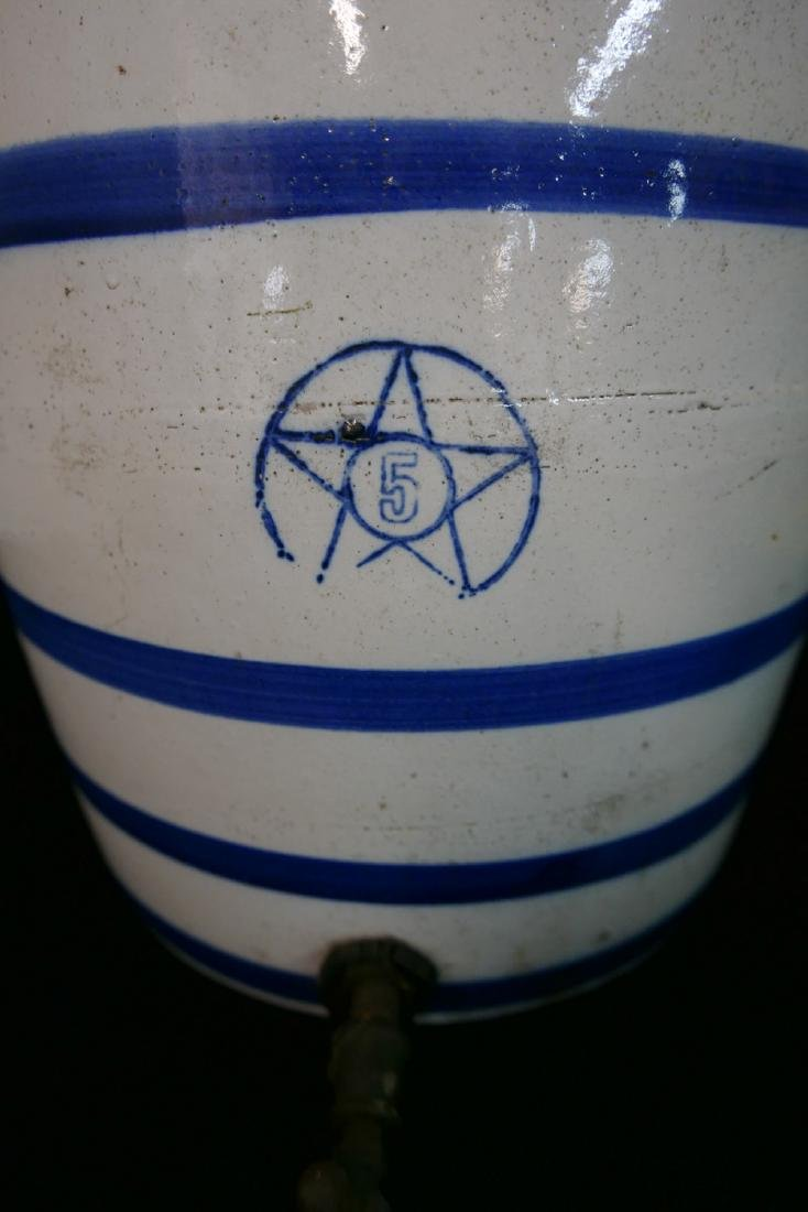 ANTHONY BARATTA: 5 GALLON BLUE & WHITE WATER JUG WITH - 2