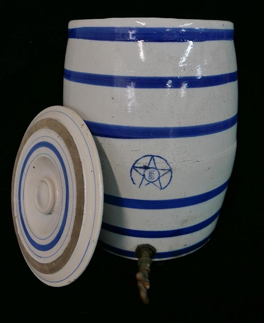ANTHONY BARATTA: 5 GALLON BLUE & WHITE WATER JUG WITH - 4