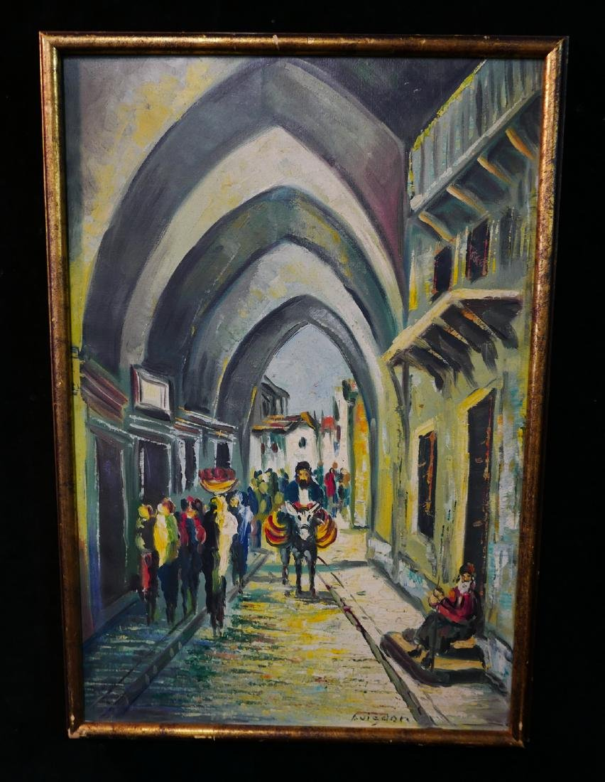 """AVIGDOR SGN. OIL ON CANVAS """"STREET SCENE WITH DONKEY"""""""