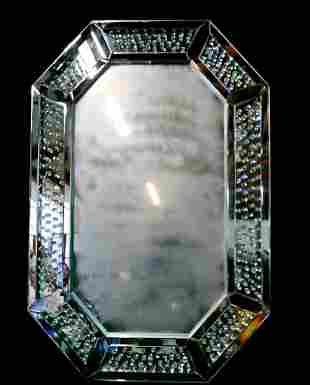 MIRROR WITH INSET CRYSTAL BORDER