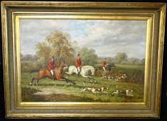 OIL ON CANVAS ENGLISH HUNTING SCENE SGN. INDISTINCTLY