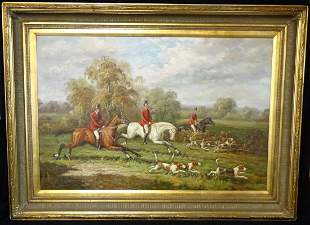 OIL ON CANVAS ENGLISH HUNTING SCENE SGN INDISTINCTLY