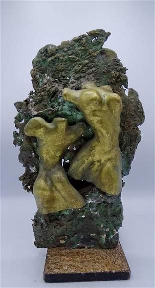 BRONZE ON MARBLE BASE FEMALE FORM RELIEFS