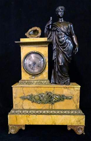 FRENCH BRONZE & MARBLE SILK SPRING MANTLE CLOCK