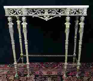 FIGURAL BRONZE MARBLE TOP CONSOLE