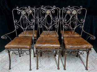 SET 6 WROUGHT IRON CHAIRS