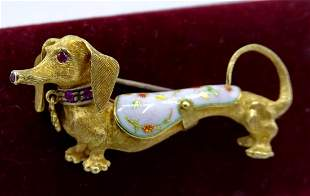 """18KT GOLD """"DOG"""" PIN WITH RUBY EYES"""