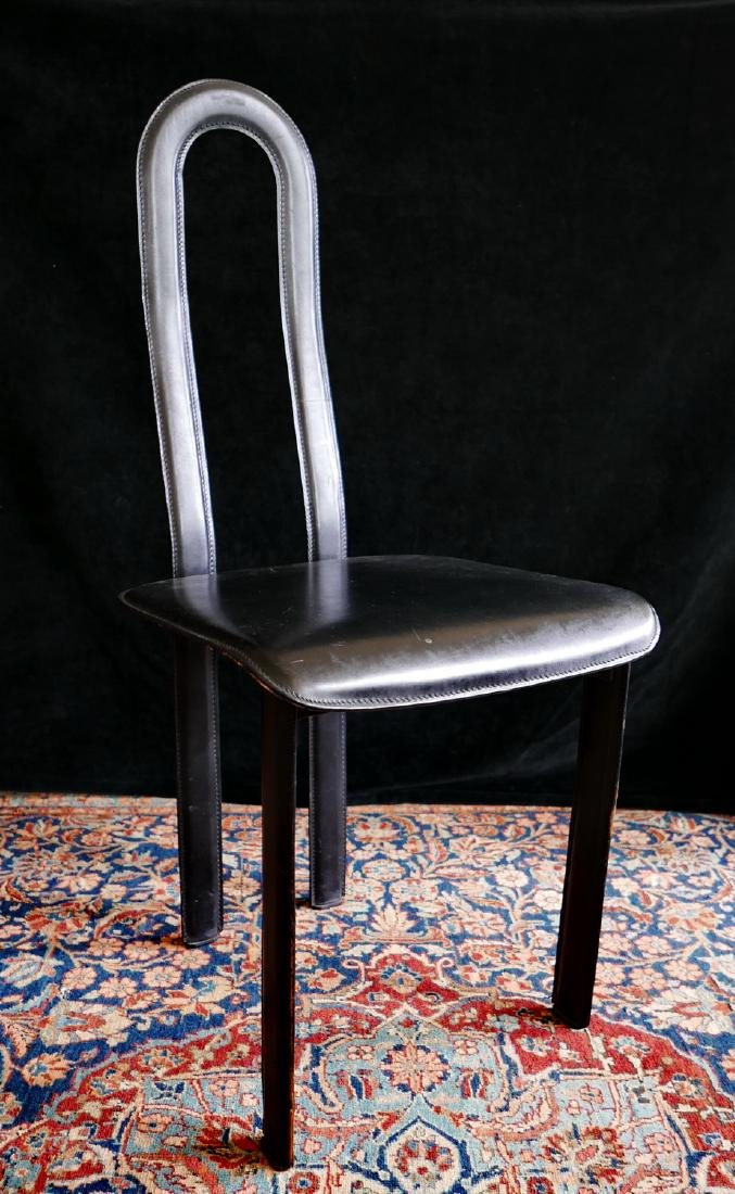 MID CENTURY LEATHER & METAL HIGH BACK CHAIR