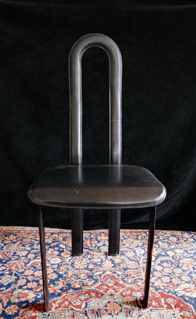 MID CENTURY LEATHER & METAL HIGH BACK CHAIR - 2