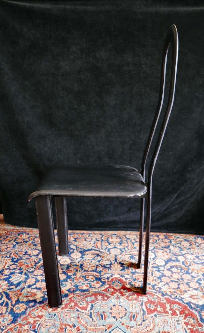 MID CENTURY LEATHER & METAL HIGH BACK CHAIR - 3