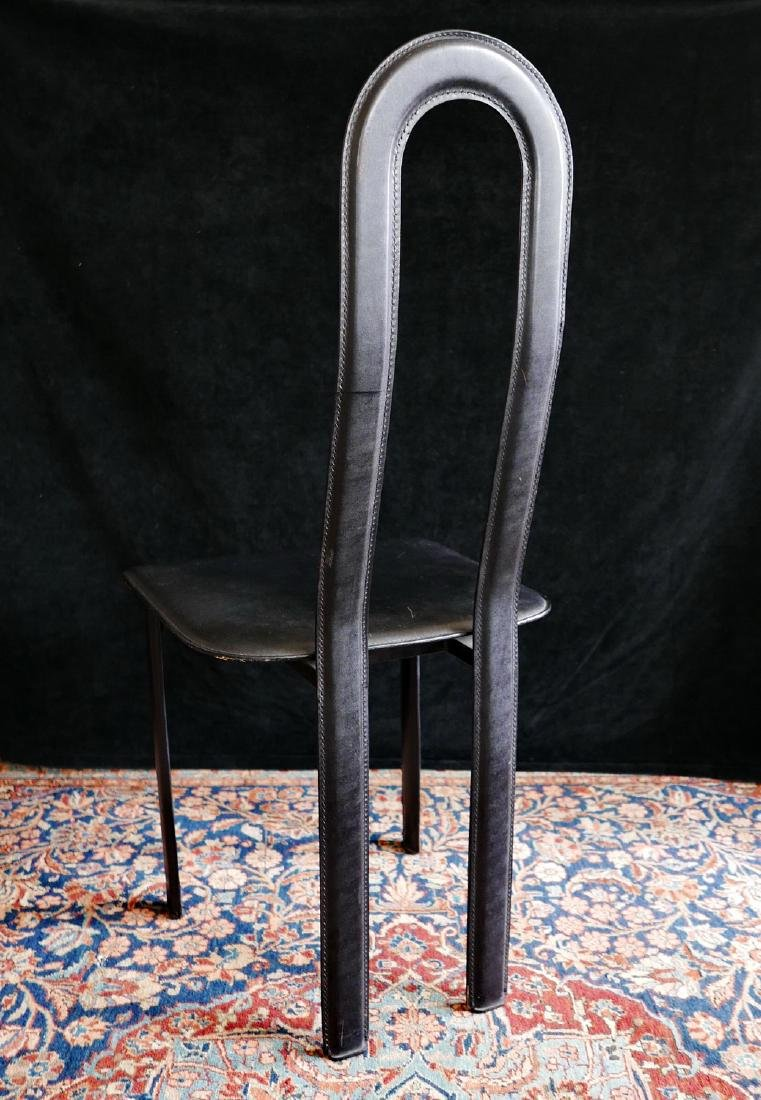 MID CENTURY LEATHER & METAL HIGH BACK CHAIR - 4