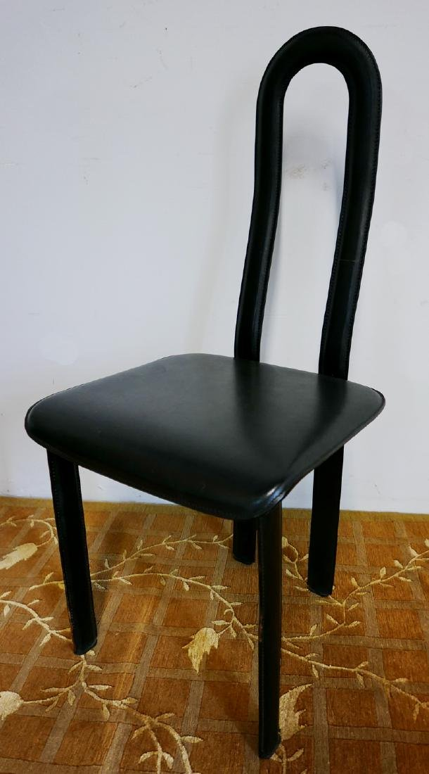 MID CENTURY LEATHER & METAL HIGH BACK CHAIR - 5