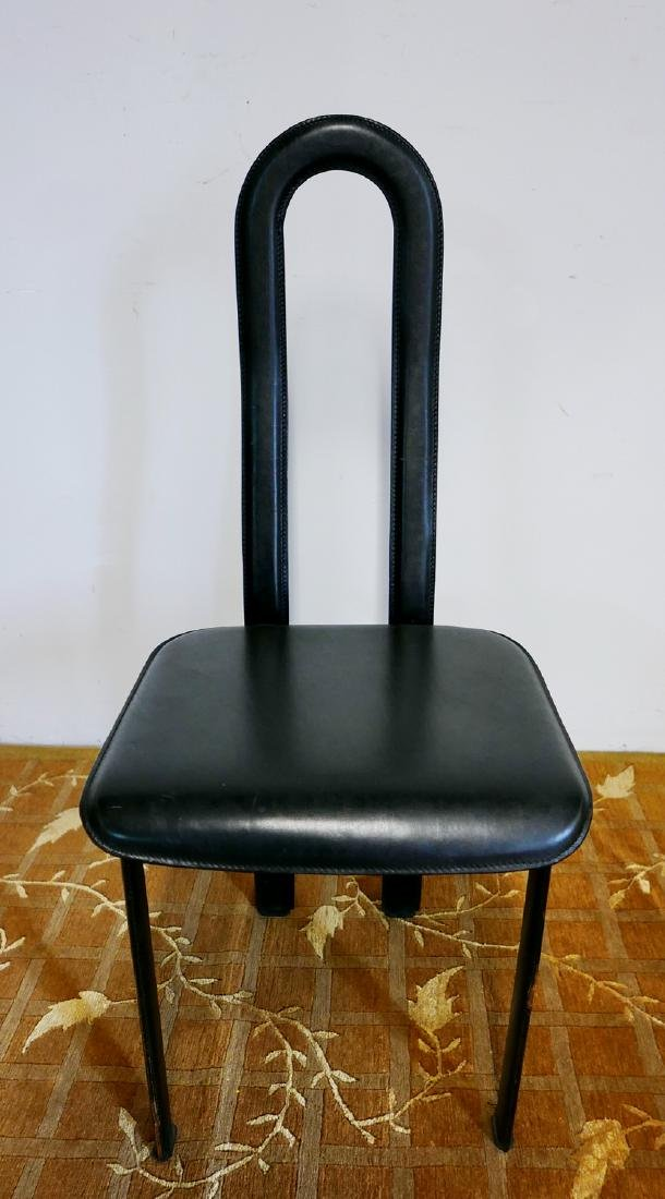 MID CENTURY LEATHER & METAL HIGH BACK CHAIR - 6