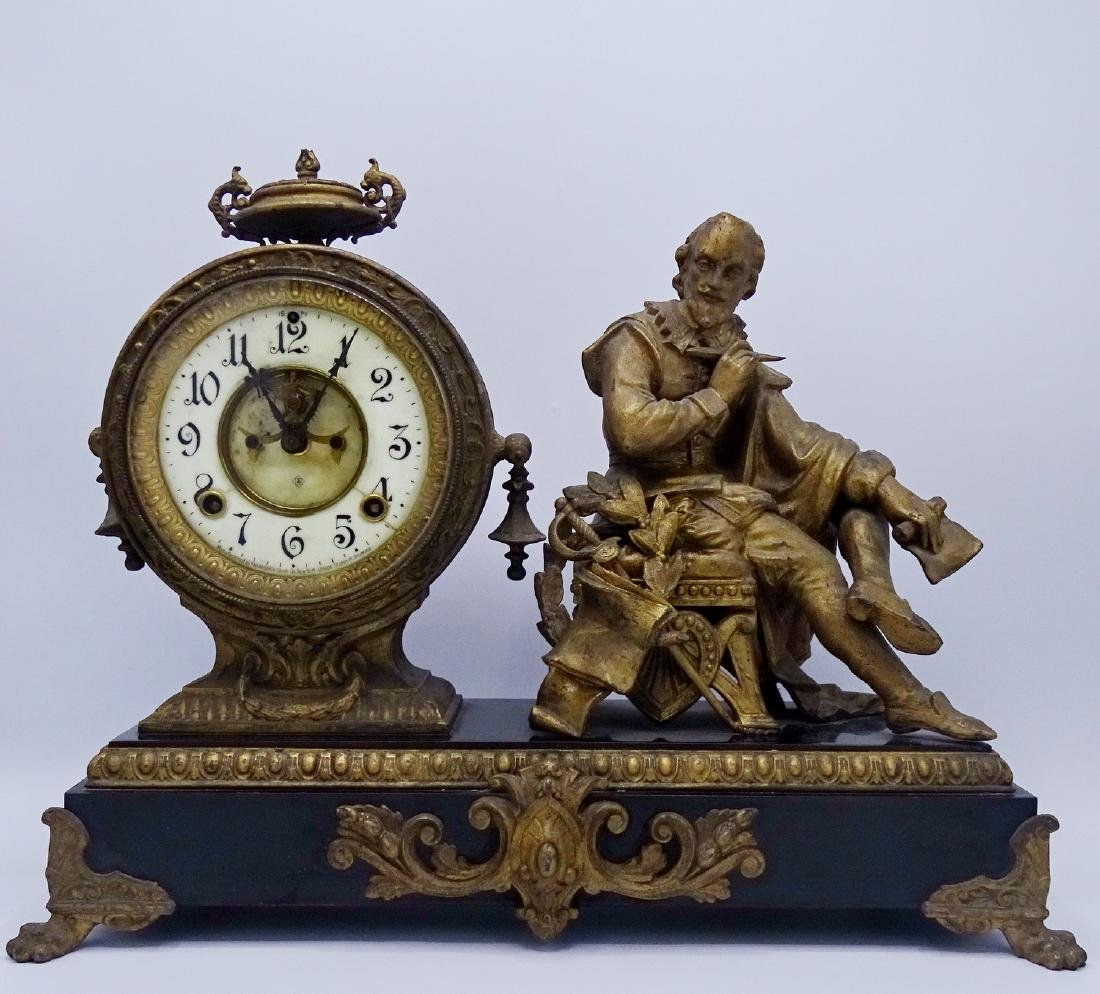 ANSONIA SHAKESPEARE FIGURAL METAL MANTLE CLOCK
