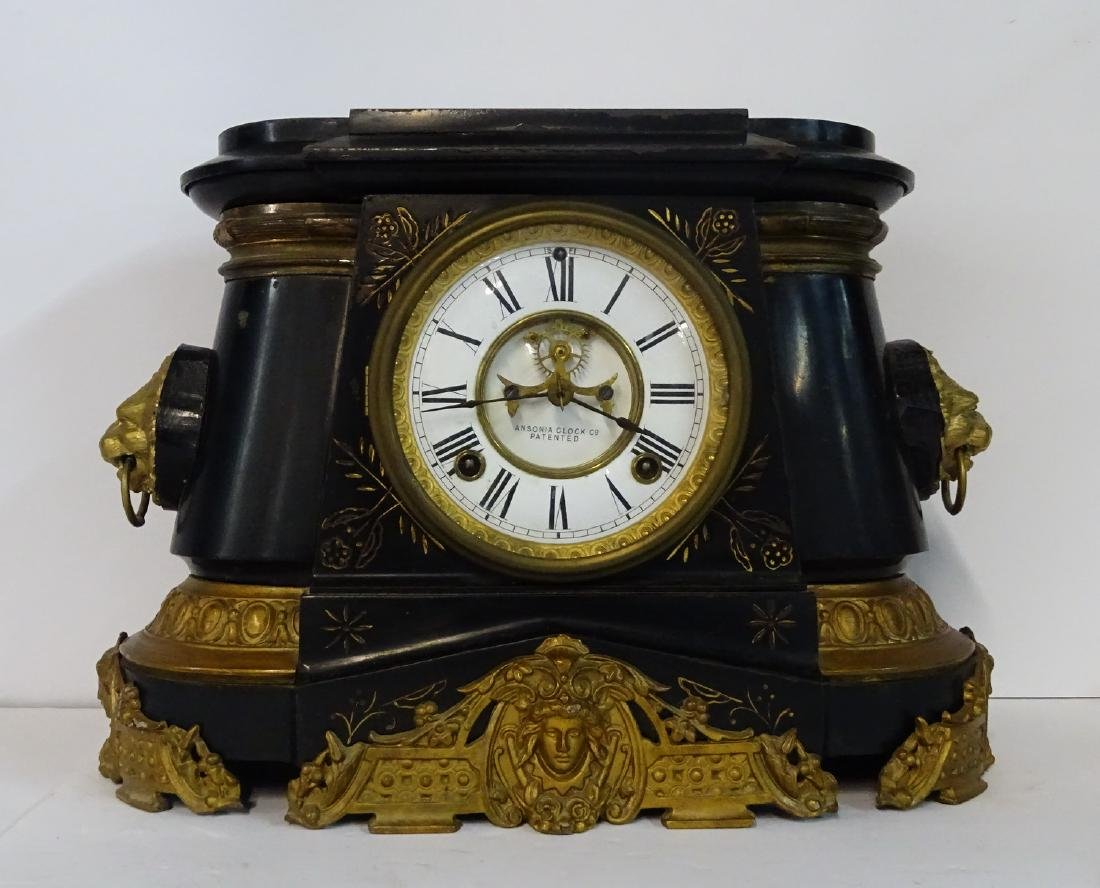 "ANSONIA ""POMPEI""  METAL OPEN ESCAPEMENT MANTLE CLOCK"