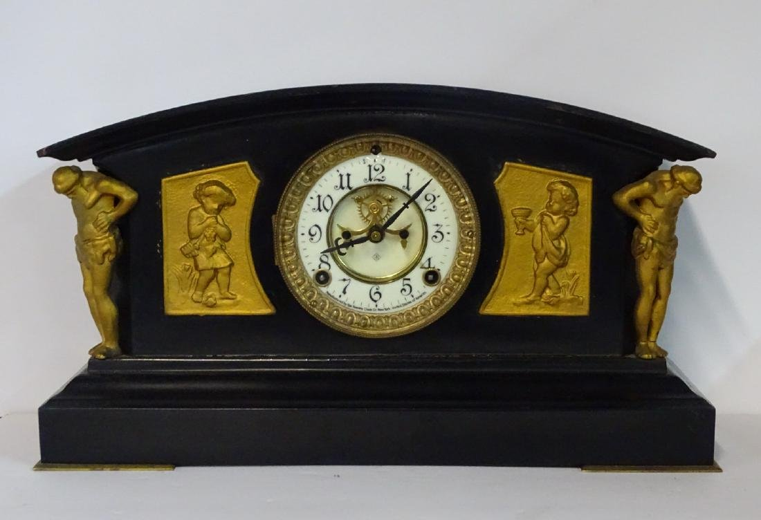 ANSONIA FIGURAL METAL OPEN ESCAPEMENT MANTLE CLOCK