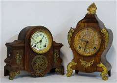 2 ANSONIA METAL FAUX WOOD GRAINED MANTLE CLOCKS WITH