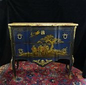 19TH C. CHINOISERIE MARBLE TOP COMMODE