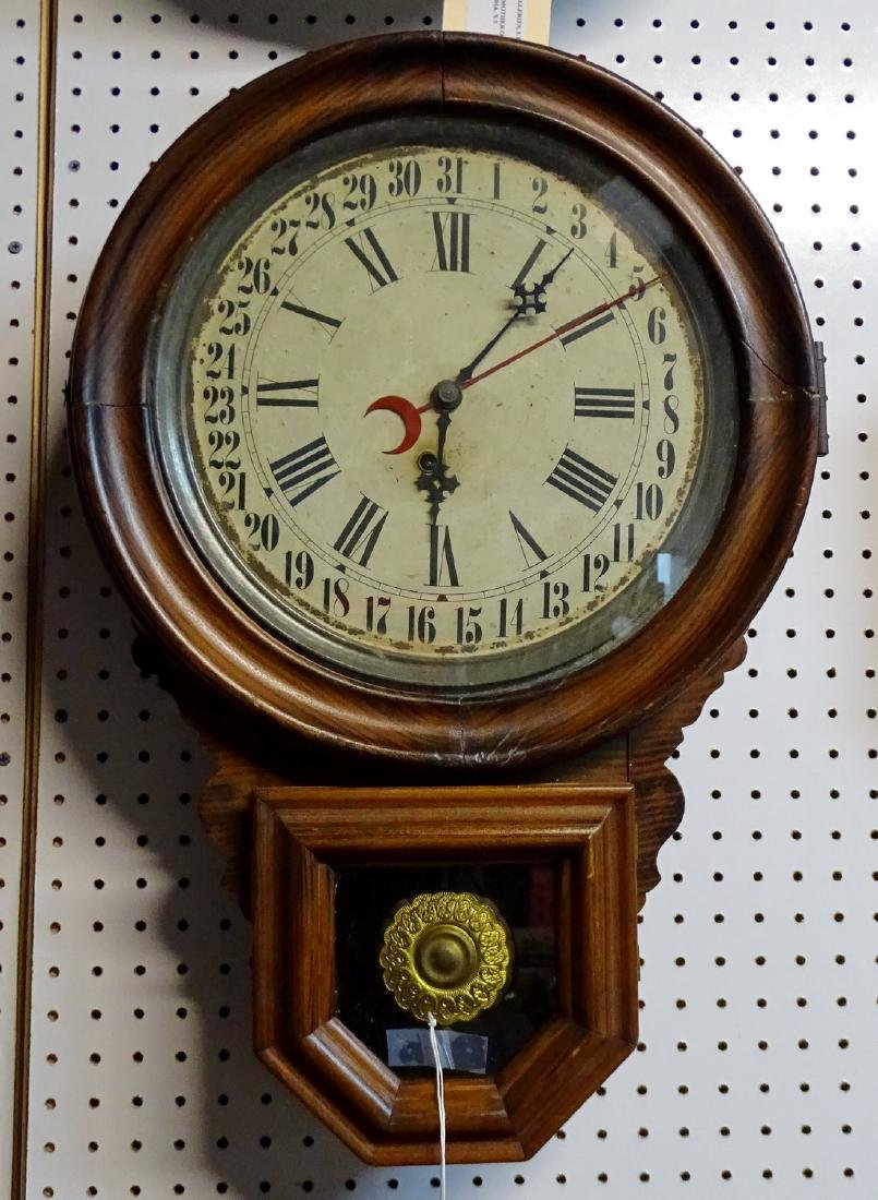 19TH C. INGRAHAM CALENDAR CLOCK