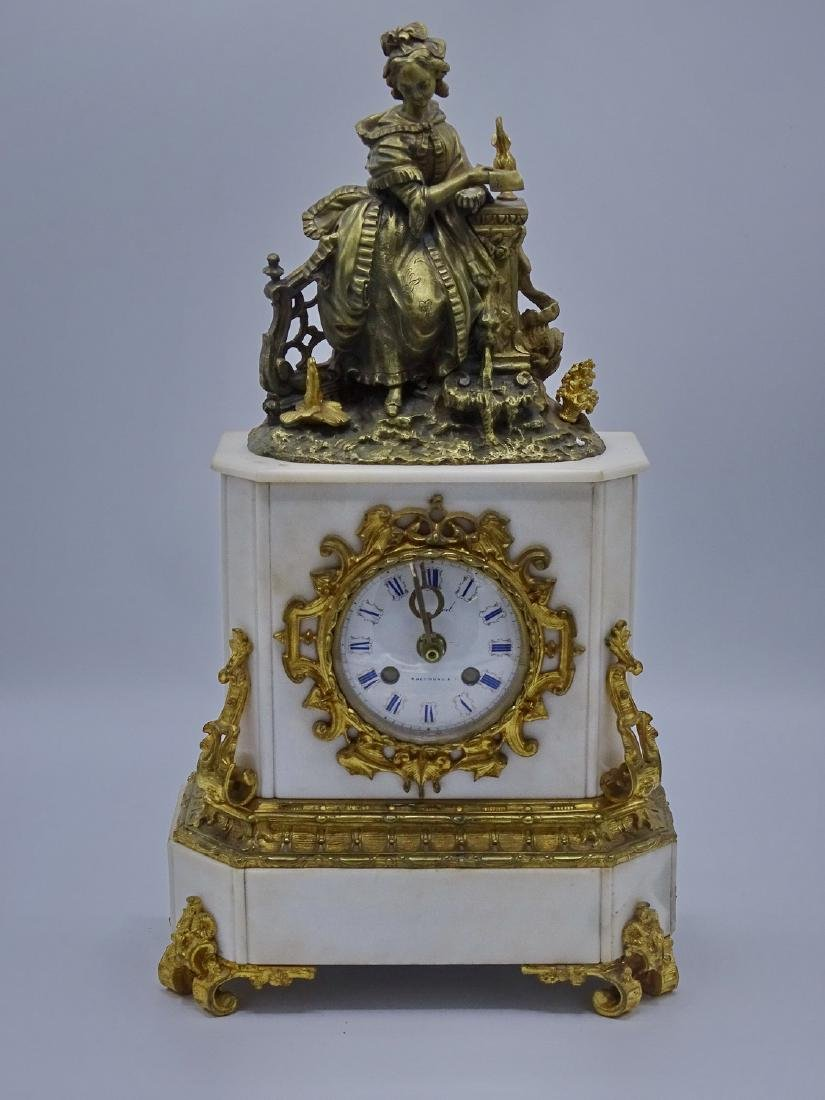 FRENCH BRONZE & MARBLE CLOCK