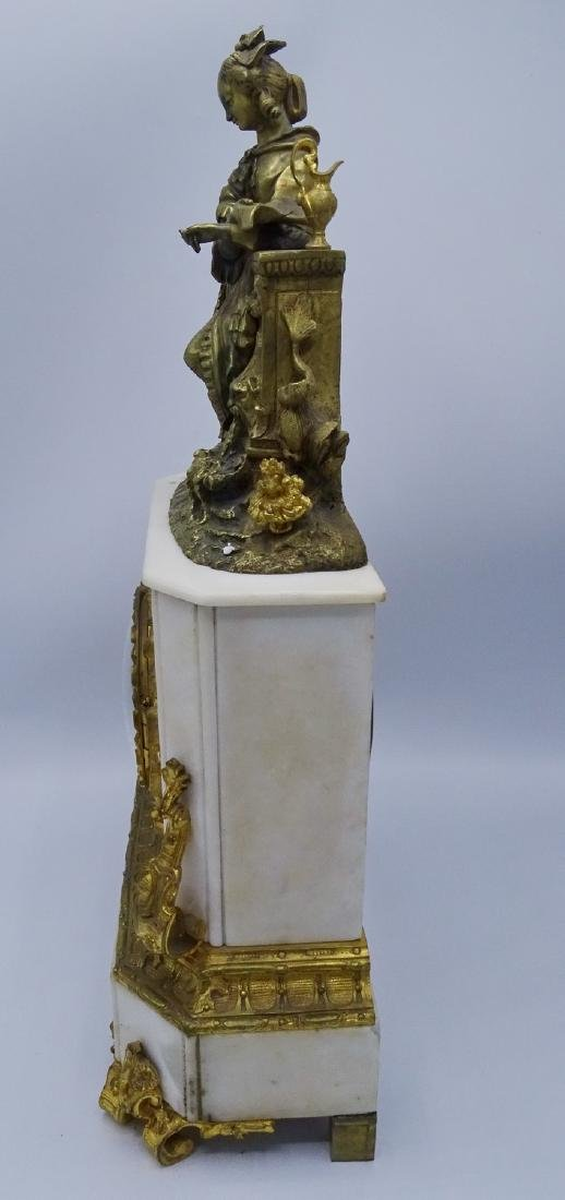 FRENCH BRONZE & MARBLE CLOCK - 8