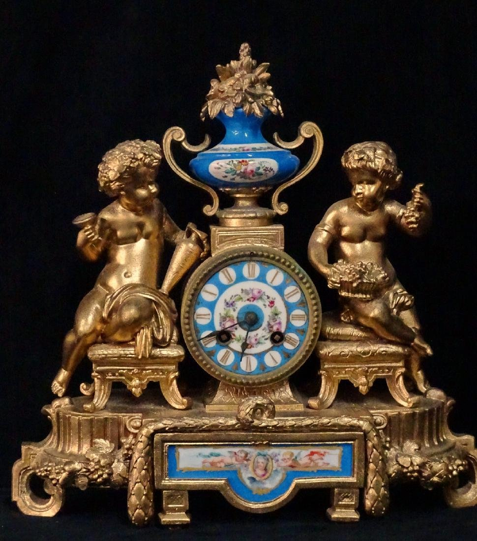 FRENCH METAL & PORCELAIN FIGURAL CLOCK