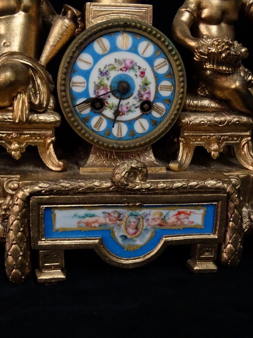 FRENCH METAL & PORCELAIN FIGURAL CLOCK - 2