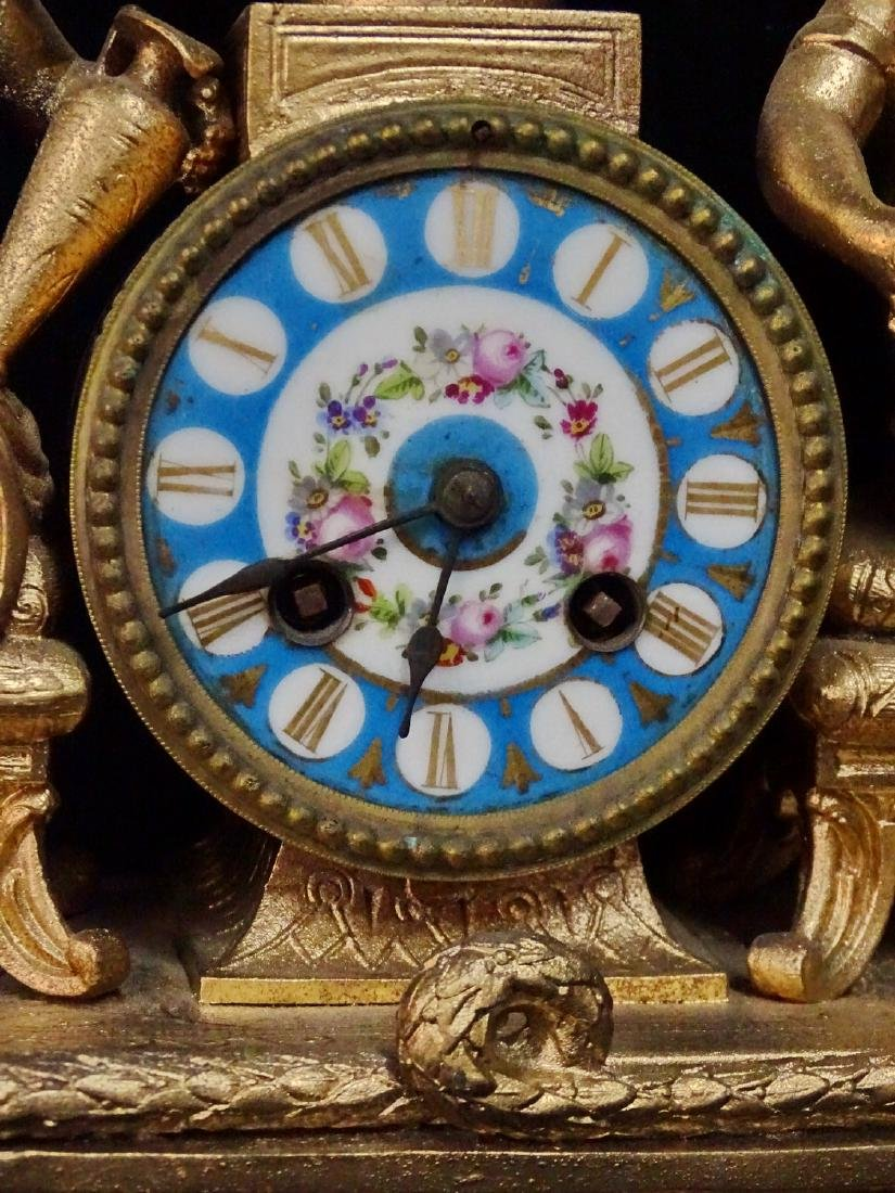 FRENCH METAL & PORCELAIN FIGURAL CLOCK - 3