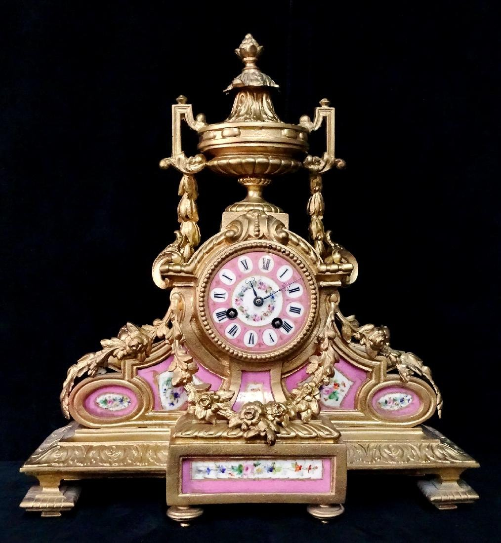 FRENCH PINK PORCELAIN & METAL MANTLE CLOCK