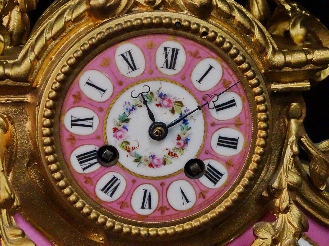FRENCH PINK PORCELAIN & METAL MANTLE CLOCK - 3