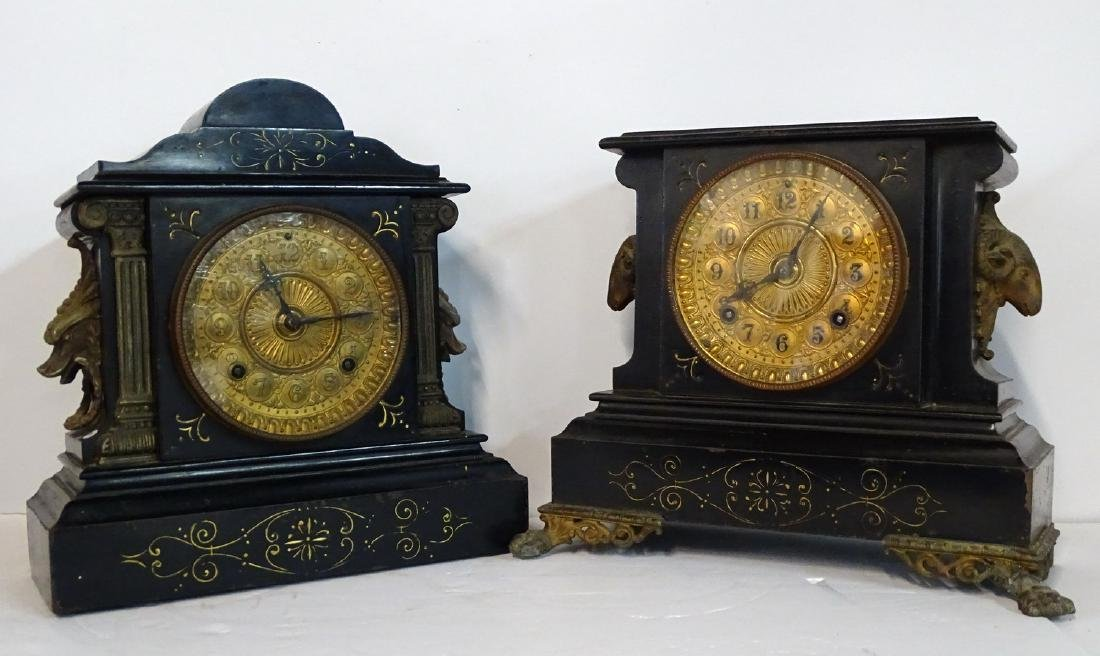 2 ANSONIA METAL MANTLE CLOCKS (GLASGOW & LONDON)
