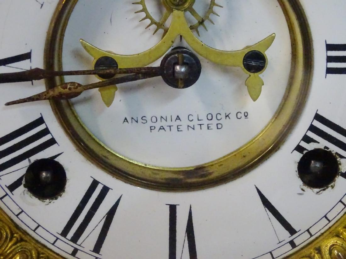 2 ANSONIA SERVIA METAL MANTLE CLOCKS OPEN ESCAPEMENTS - 2